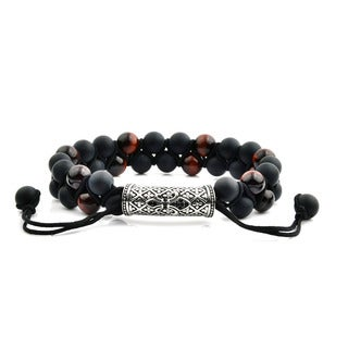 Men's Red Tiger Eye and Black Onyx Stainless Steel Cubic Zirconia Fleur de Lis Bead Adjustable Bracelet - 8 inches (15mm Wide)