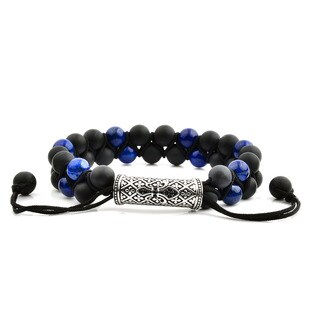 Men's Lapis Lazuli and Black Onyx Stainless Steel Cubic Zirconia Fleur de Lis Bead Adjustable Bracelet - 8 inches (15mm Wide)