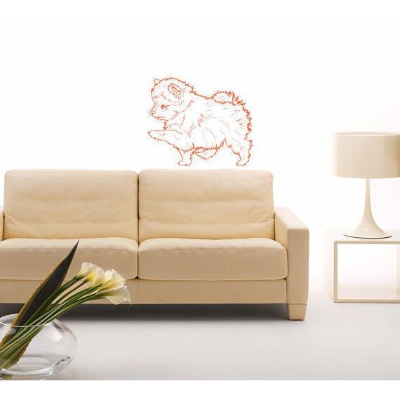 Pomeranian Breed Decal Pet Animal Family Wall Decal Brit Sticker Dog Puppy Sticker Dog Sticker Decal Size 22x30 Color Red