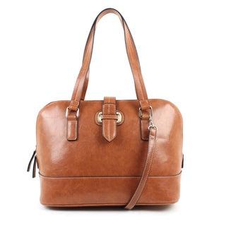 Emilie M. Lara Dome Vegan Leather Satchel Handbag