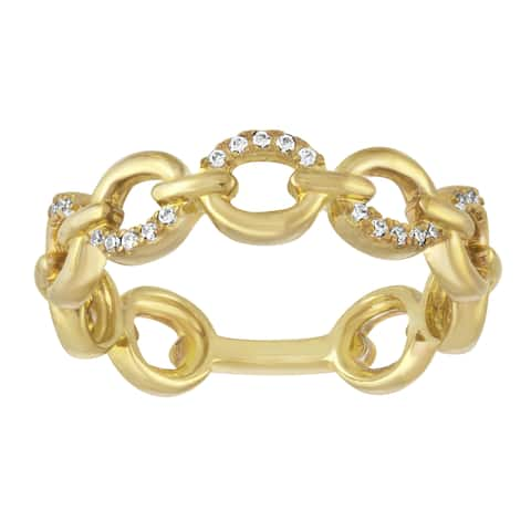 Yellow Goldplated Sterling Silver 1/10ct TDW Diamond Stackable Ring - White I-J