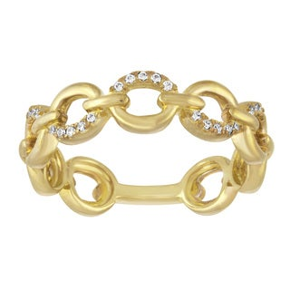 Yellow Goldplated Sterling Silver 1/10ct TDW Diamond Stackable Ring