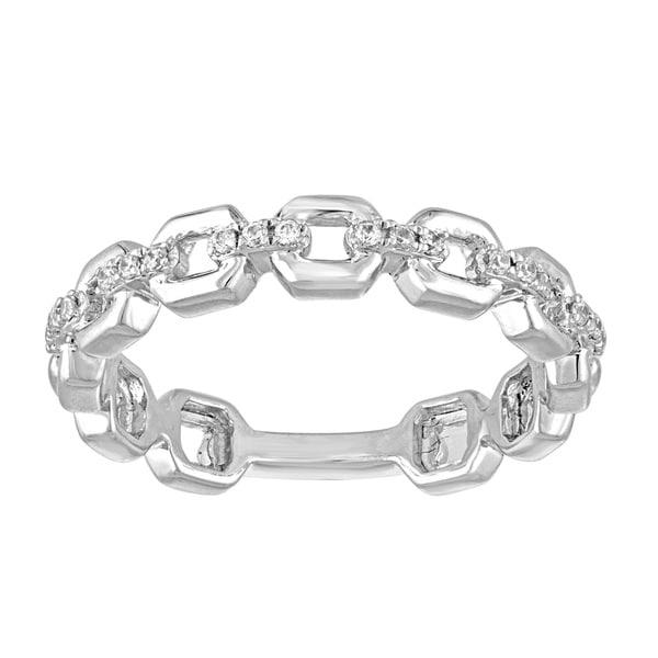 10k White Gold 1/10ct TDW Diamond Wedding Link Band in - White I-J