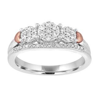 10k White Gold 1/3ct TDW Diamond Cluster Engagement Ring (I-J, I2-I3)