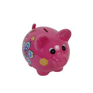 FireFly Pink Ceramic 9-inch x 7-inch x 7.5-inch Piggy Bank