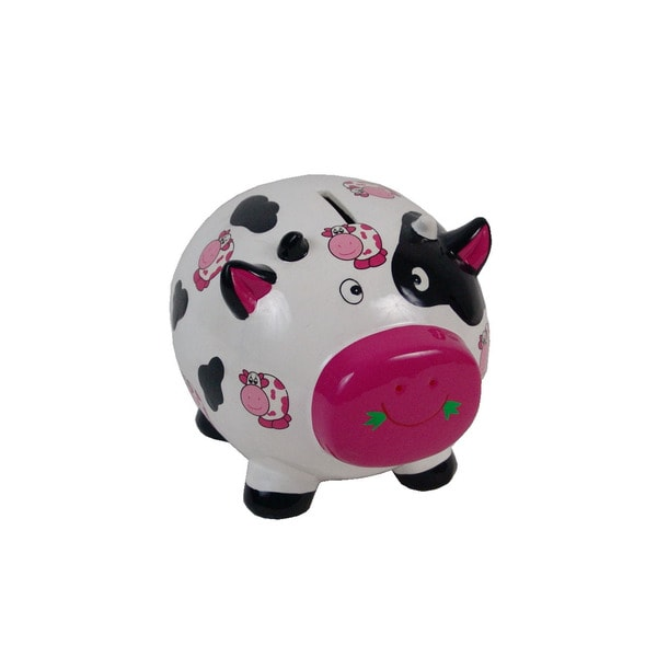 FireFly Multicolor Ceramic 8-inch x 6.5-inch x 6.5-inch Cow Bank