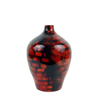 FireFly Red/Black Lacquer Bamboo Vase