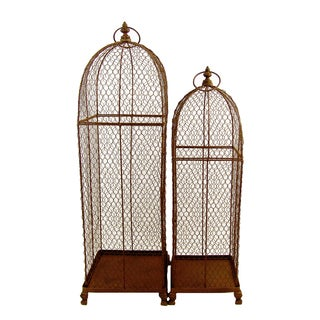 FireFly Antique Brown Metal 26-inch/31.5-inch 2-piece Bird Cage Set
