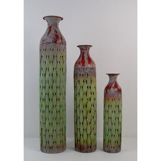 FireFly Green/Rust Metal 6-inch x 6-inch x 29.75-inch Open Vases (Pack of 3)