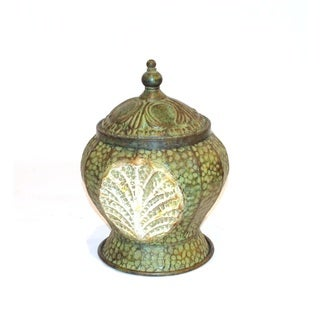 FireFly Rustic Green Metal 10.75 inches x 10 inches x 14.75 inches Jar with Lid