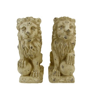 FireFly Beige Ceramic 10-inch x 7-inch x 17-inch Lion Sculptures (Set of 2)
