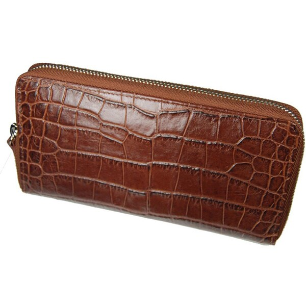 Castello Italian Crocodile-embossed Leather RFID Zip-around Wallet