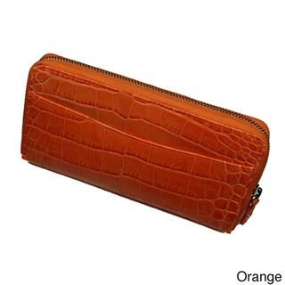 Castello Italian Crocodile-embossed Leather RFID Zip-around Wallet
