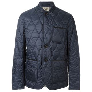 Burberry Men's Gillington Large Blue Quilted Jacket
