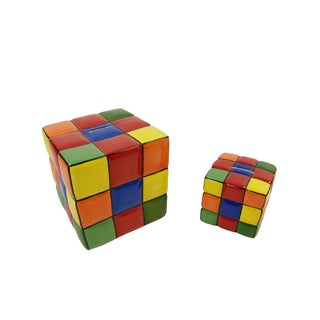 FireFly Multicolored Ceramic 4- x 4- x 4-inch/7- x 7- x 7-inch 2-piece Cube Bank Set