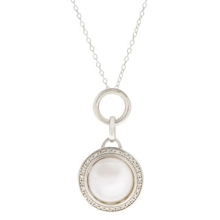 Pearls For You Sterling Silver White Fresh Water Coin Pearl and Diamond 18-inch Pendant