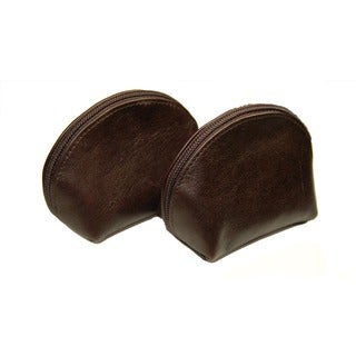 Castello Brown Leather Top-zip Secure Coin Pouch (Set of 2)