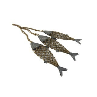 Metal and Twine Hanging Fish Wall Decor - 17.5x6x34.25""