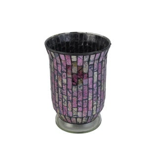 FireFly Pink Glass Mosaic 6-inch x 8-inch Candleholder