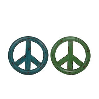 FireFly Blue and Green 13.5-inch x 1.25-inch x 13.5-inch Distressed Peace Mirrors (Set of 2)