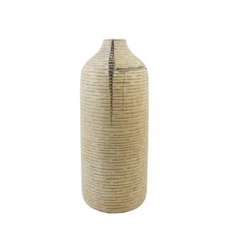 FireFly Tan Polyresin Ridges Vase