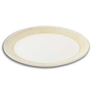 FireFly Palacio Matte White and Tan Porcelain 15-inch Plate