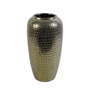 FireFly Gold Ceramic 12-inch Crocodile Pattern Vase