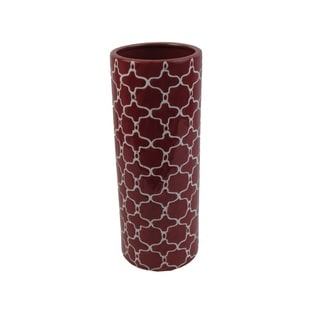 Red and White Patterned 16-inch Ceramic Vase