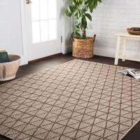 Indoor/ Outdoor Havannah Beige/ Mocha Geometric Rug - 5'3 x 7'7