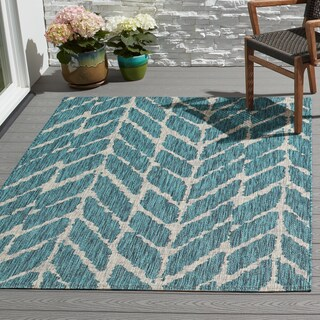 Indoor/ Outdoor Havannah Abstract Chevron Rug (7'10 x 10'9) - 7'10 x 10'9