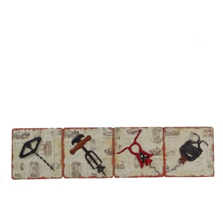 Firefly Set of 4 Metal 12.25-inch x 1.75-inch x 12.25-inch Frames of Wine Openers Wall Decor