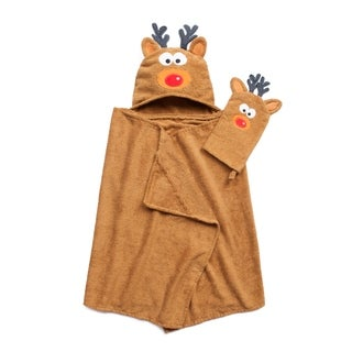 Tub Time for Tots 2-Piece Reindeer Hooded Bath Wrap Set