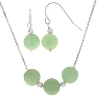 Gems for You Sterling-silver Jade and Brilliance Bead 2-piece Necklace/Earring Set
