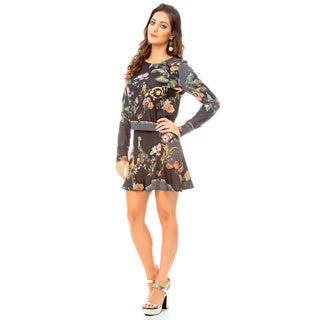Sara Boo Women's Black Polyester and Spandex Floral Long-sleeve Crop Top