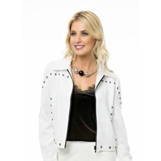 Sara Boo Women's White Polyester Twill Front-zip Blazer With Metal Grommet Details