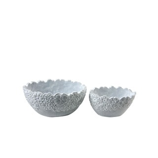 FireFly Grey Cement 2-piece Elliptical Floral Pot Set