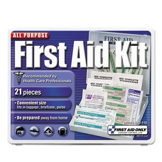 First Aid Only All-Purpose First Aid Kit, 21 Pieces, 4 3/4 x 3 x 1/2, Blue/White