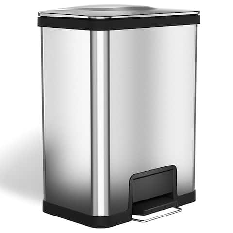 halo AirStep 13 Gallon Kitchen Trash Can, Silent and Gentle Lid Close