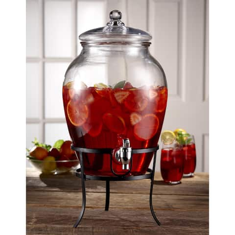 Style Setter Soho Glass 338oz Beverage Dispenser With Metal Rack