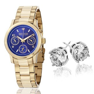 SO&CO Women's Gold Tone Watch with Crystal Stud Earrings