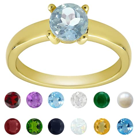 Dolce Giavonna Gold Overlay Gemstone Birthstone Solitaire Ring