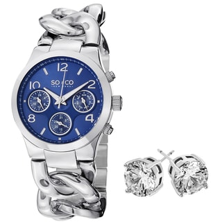 SO&CO New York Gift with Purchase Women's Stainless Steel Watch and Crystal Stud Earrings
