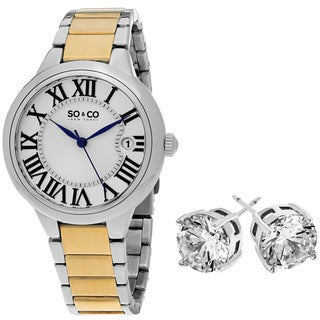 SO&CO New York Gift with Purchase Women's Two-tone Watch with Crystal Stud Earrings