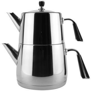 Silvertone/Black Stainless Steel Double Teapot Tea Kettle