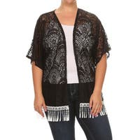 Women's Black Polyester Plus-size Lace Fringe Cardigan