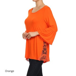 Women's Rayon and Spandex Crochet-inset Tunic