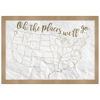 """Oliver Gal """"Oh The Places We""""ll Go"""" Framed Whiteboard"""