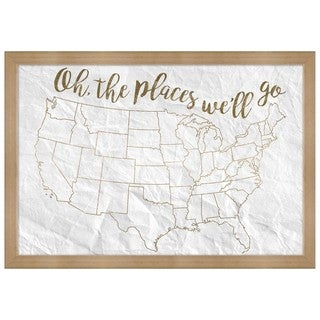"Oliver Gal ""Oh The Places We""ll Go"" Framed Whiteboard"