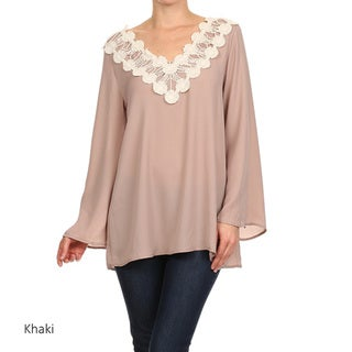 Women's Crochet Trim V-Neck Tunic