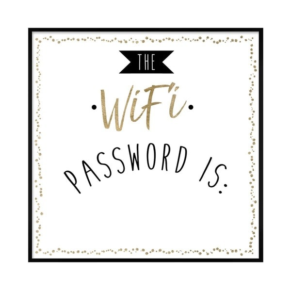 """Oliver Gal """"WIfi Password"""" Framed Whiteboard. Opens flyout."""